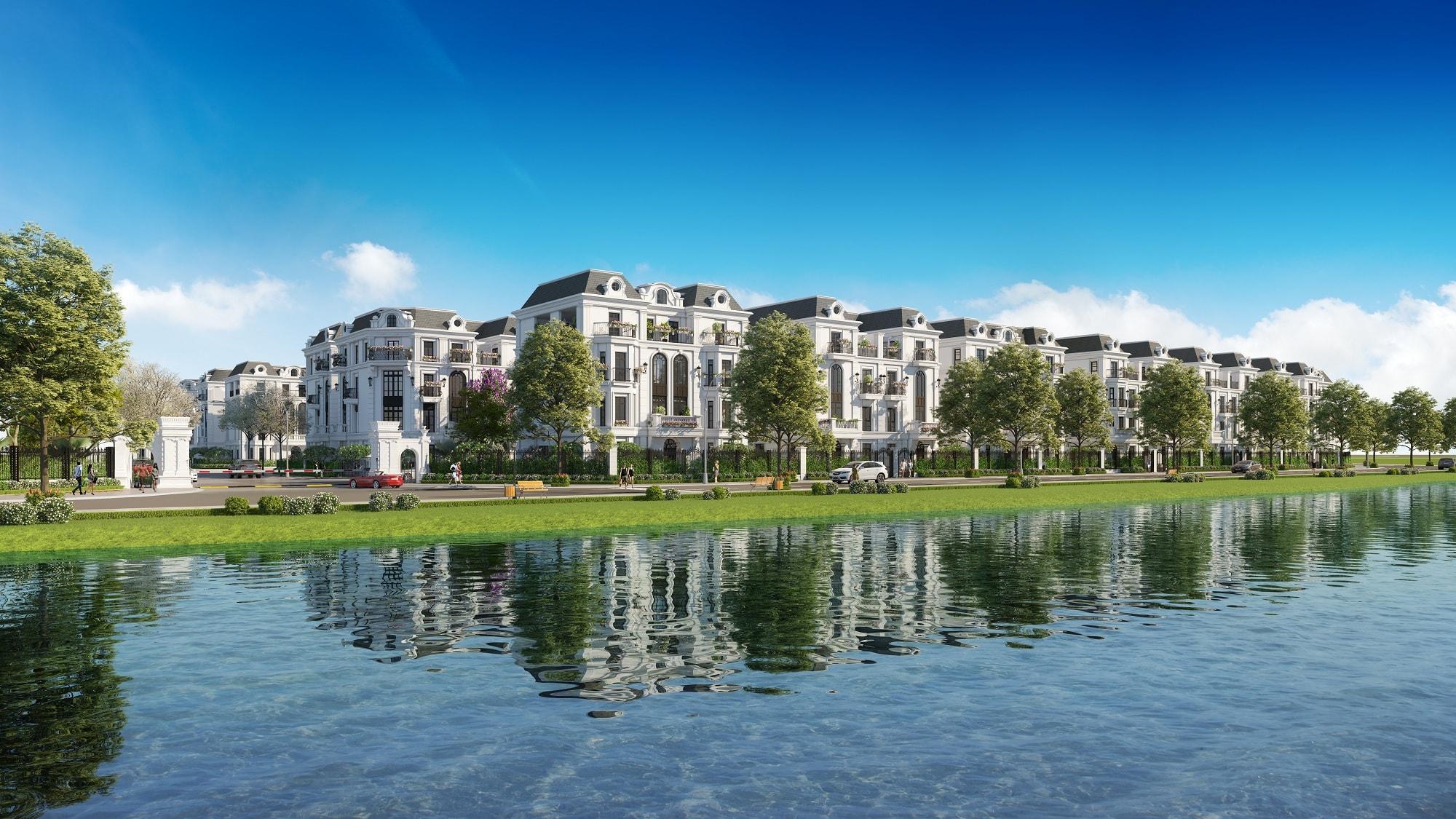 elegant park villa view hồ